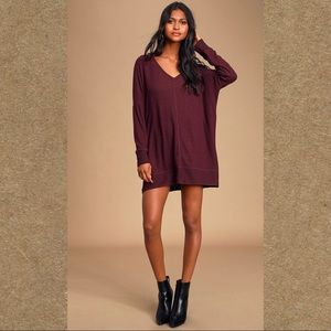 Lulu's Estes Park Plum Purple Sweater Dress | XL